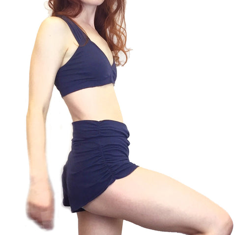 Agnes - Organic Cotton Yoga Shorts - Navy