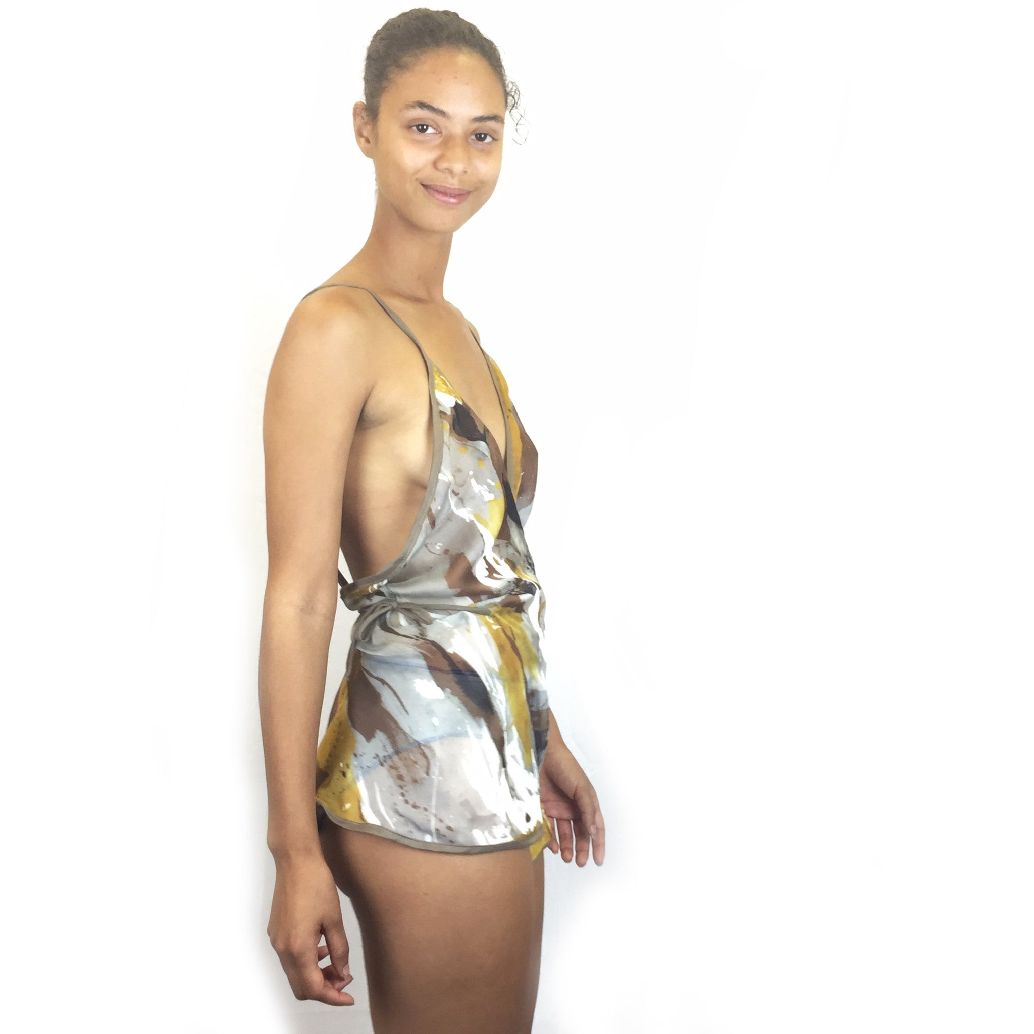Larkspur - Felicia Wrap Romper - Watercolor Silk and Toffee