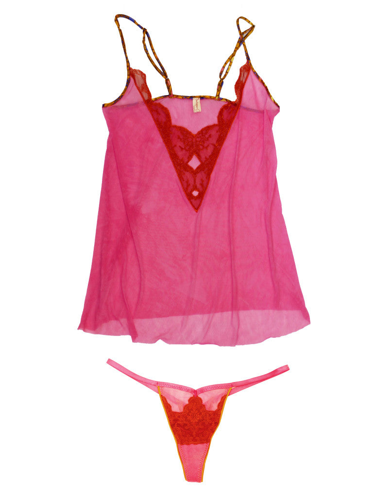 Larkspur - Astrid Chemise and Thong - Fuschia