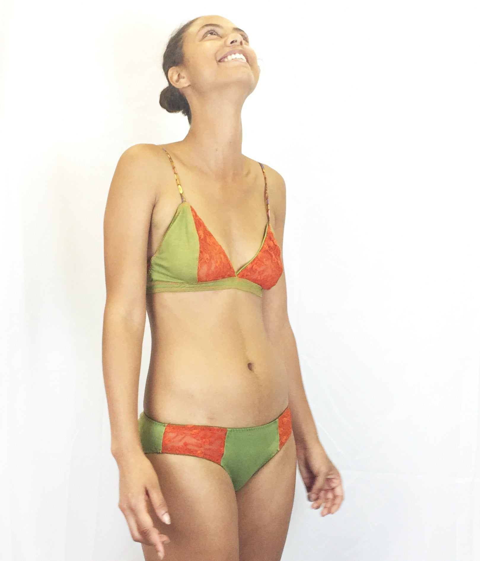 Larkspur - Hazel - Organic Cotton Bra and Panties Set - Olive/Tangerine