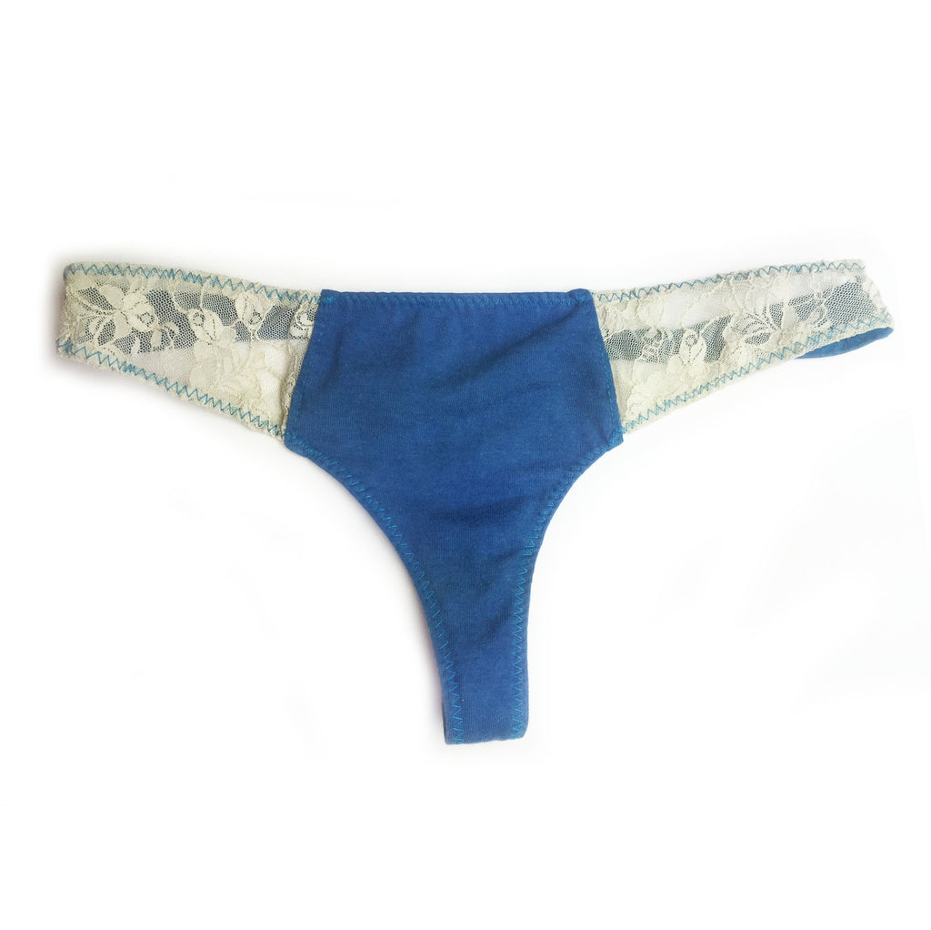 Larkspur - Hazel - Organic Cotton Thong Panties - Indigo
