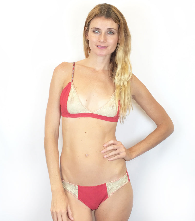 Larkspur - Hazel - Organic Cotton Bra and Panties Set - Red/Ivory