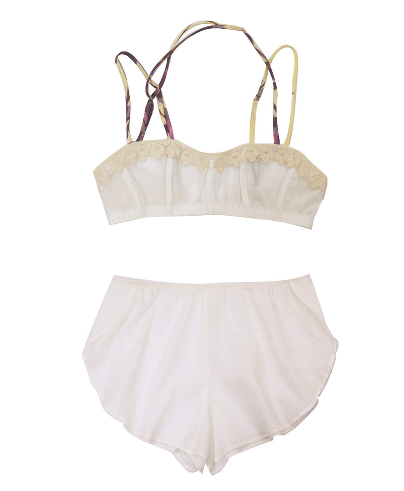 Imogene - Organic Cotton Bra and Tap Pants Set - Unbleached Ivory