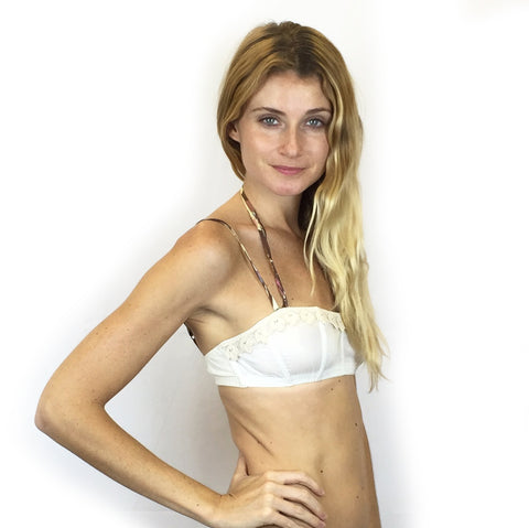 Larkspur - Lillie - Organic Cotton and Lace Triangle Bra - Navy/Tobacco