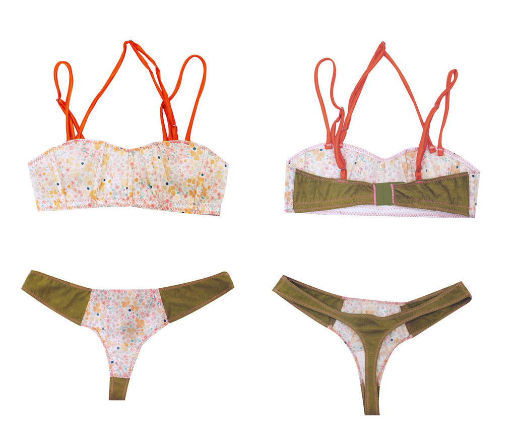 Imogene - Organic Cotton Bra and Thong Set - Floral