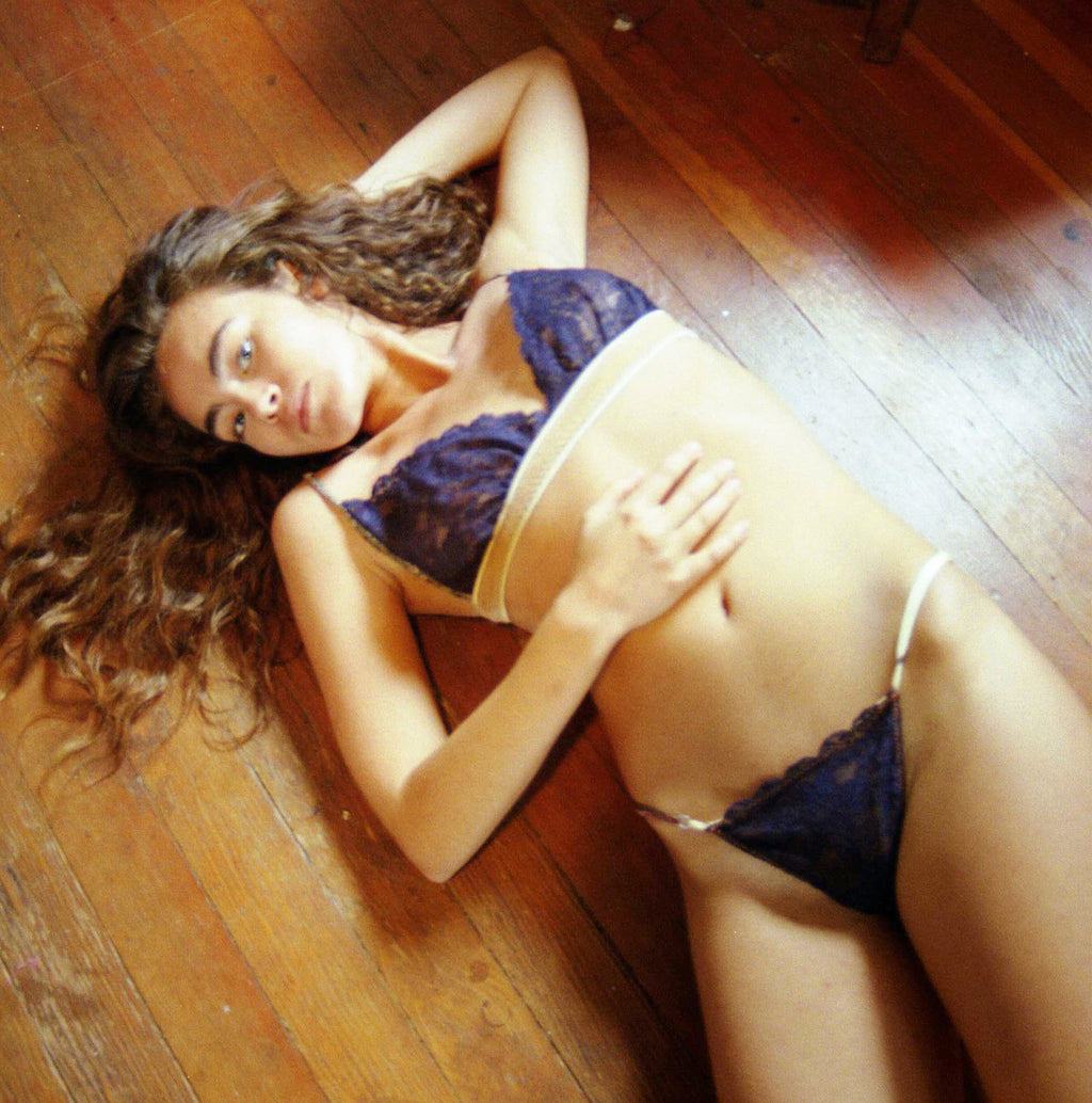 Larkspur - Lillie - Organic Cotton and Lace Bra and Thong Set - Navy/Tobacco