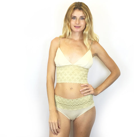 Imogene - Organic Cotton Bra and Thong Set - Ivory