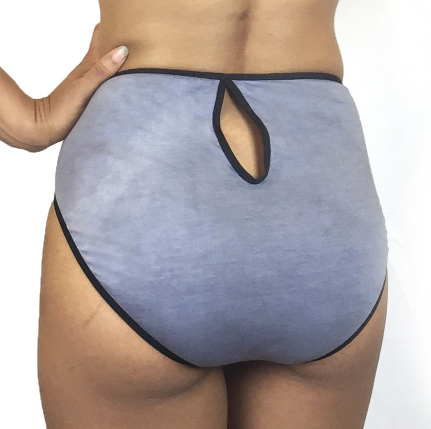 Viviane - Organic Cotton Keyhole Panty - Grey/Black
