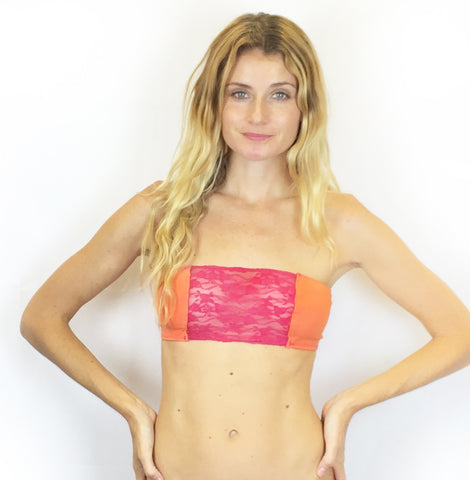 Larkspur - Lillie - Organic Cotton and Lace Triangle Bra - Tangerine/Fuschia