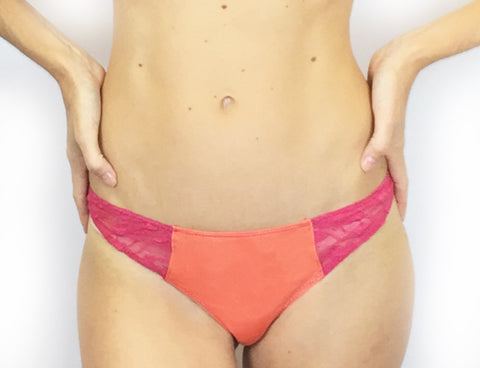 Larkspur - Elsie - Organic Cotton and Lace Thong - Indigo/Tobacco
