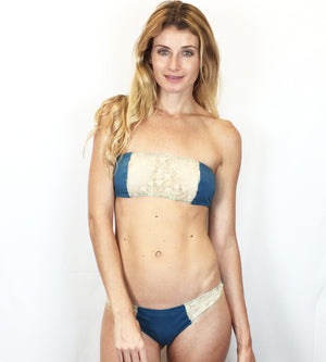 Larkspur - Zelda Organic Cotton Bandeau Bra and Thong Set - Indigo/Ivory