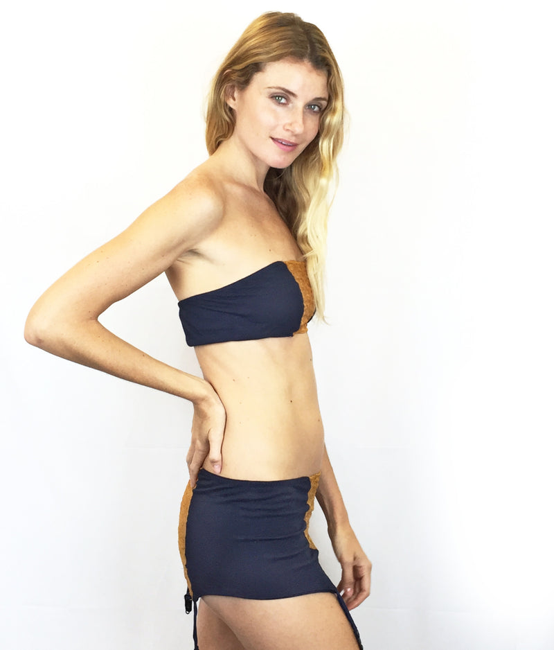 Larkspur - Zelda Organic Cotton Bandeau and Garter Slip Set - Navy/Tobacco