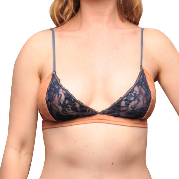 Larkspur - Hazel - Organic Cotton Bra - Tobacco/Navy