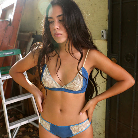 Larkspur - Elsie - Organic Cotton and Lace Bra and Thong Set - Navy/Tobacco