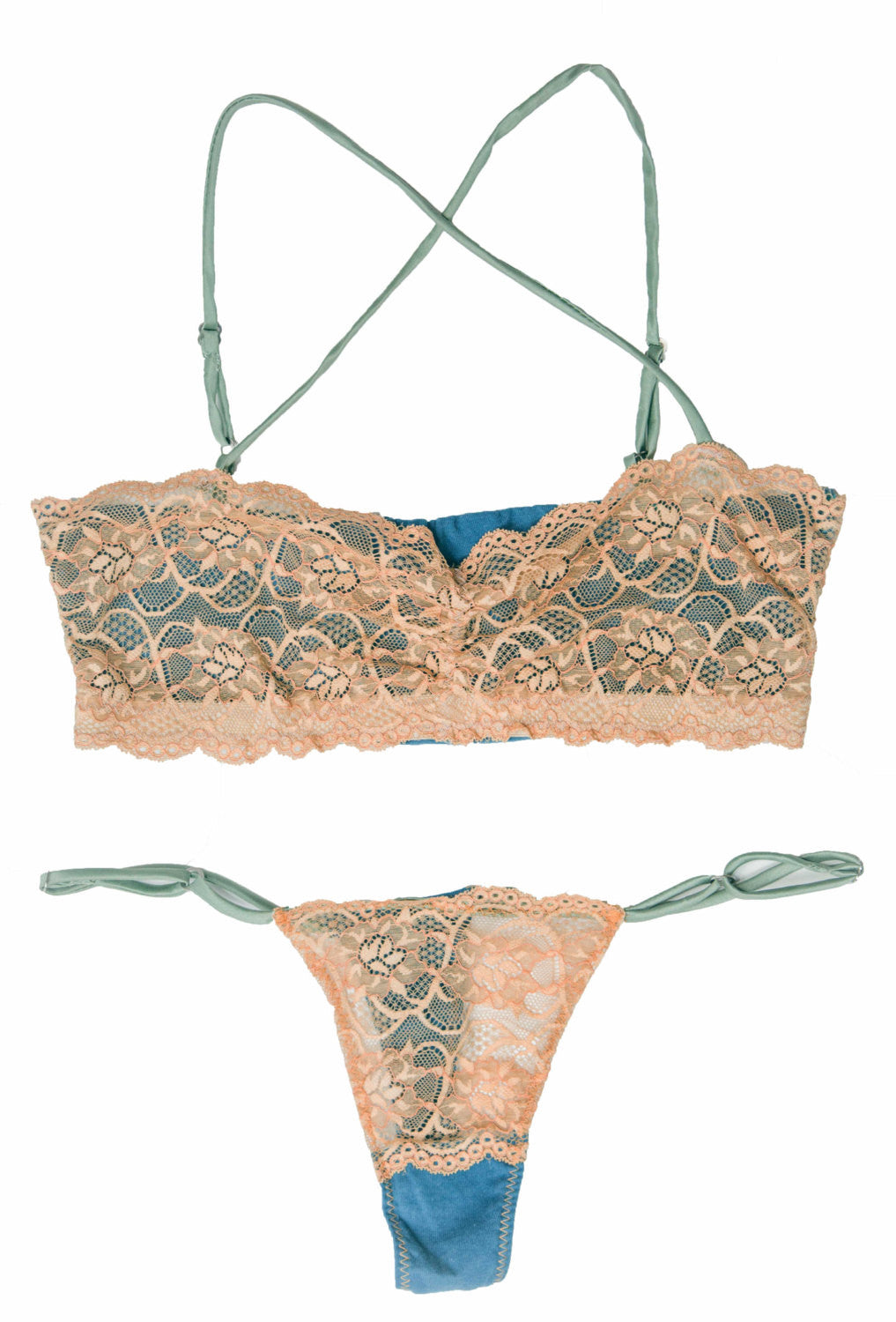 Larkspur - Elsie - Organic Cotton and Lace Bra and Thong Set - Indigo/Tobacco