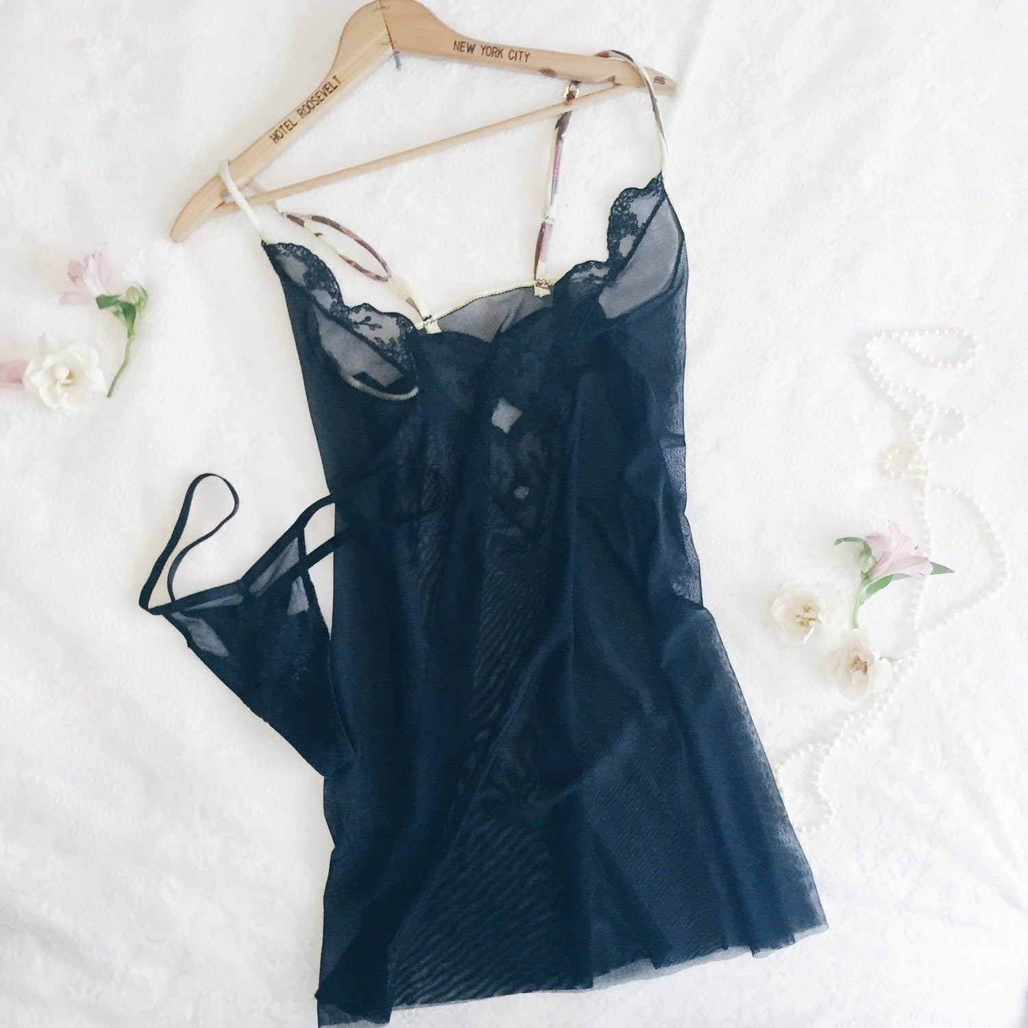 Larkspur - Astrid Chemise and Thong - Black
