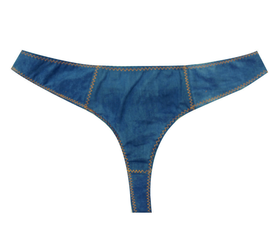 Larkspur - Imogene Organic Cotton Thong Panty - Denim Indigo