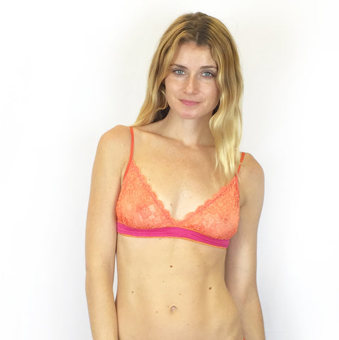 Larkspur - Elsie - Organic Cotton and Lace Bra - Indigo/Tobacco