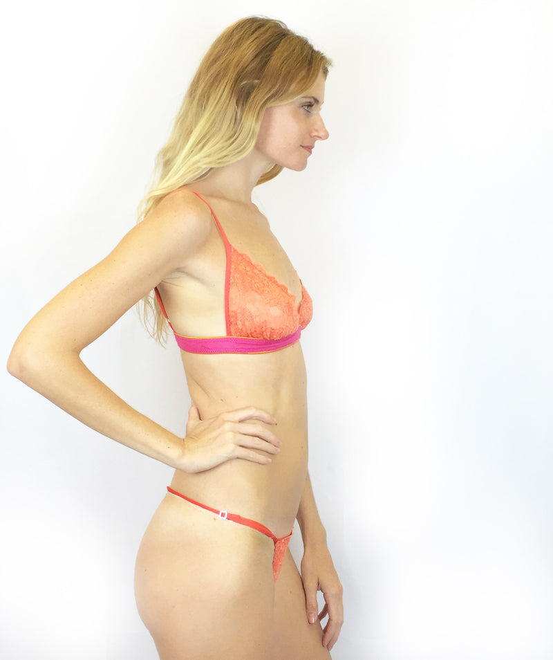 Larkspur - Lillie - Organic Cotton and Lace Bra and Thong Set - Tangerine/Fuschia