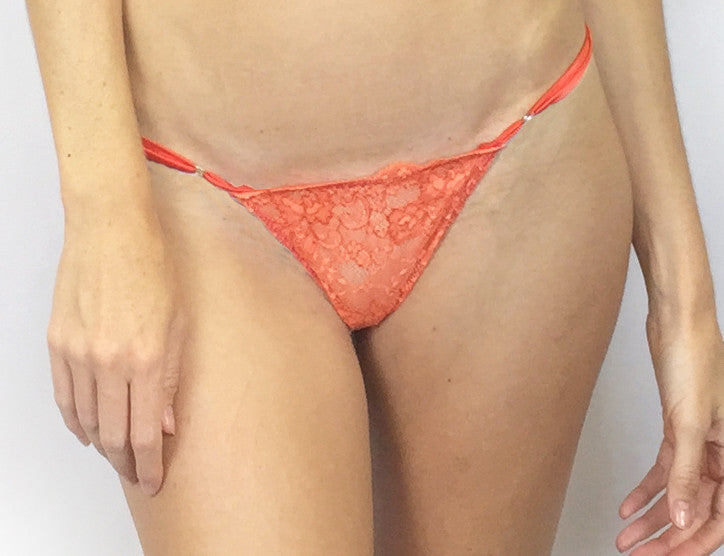 Larkspur - Elsie - Organic Cotton and Lace Thong - Tangerine/Fuschia