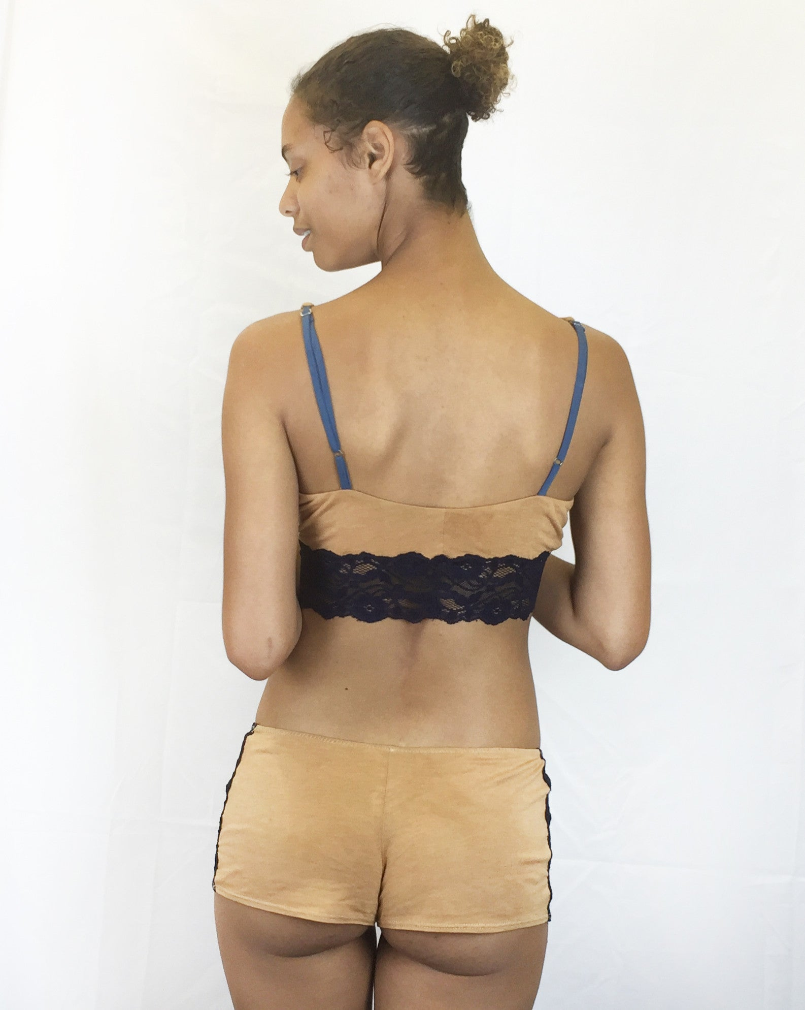 Larkspur - Trudie Bralette and Tap Pants Lingerie Set - Tobacco/Navy