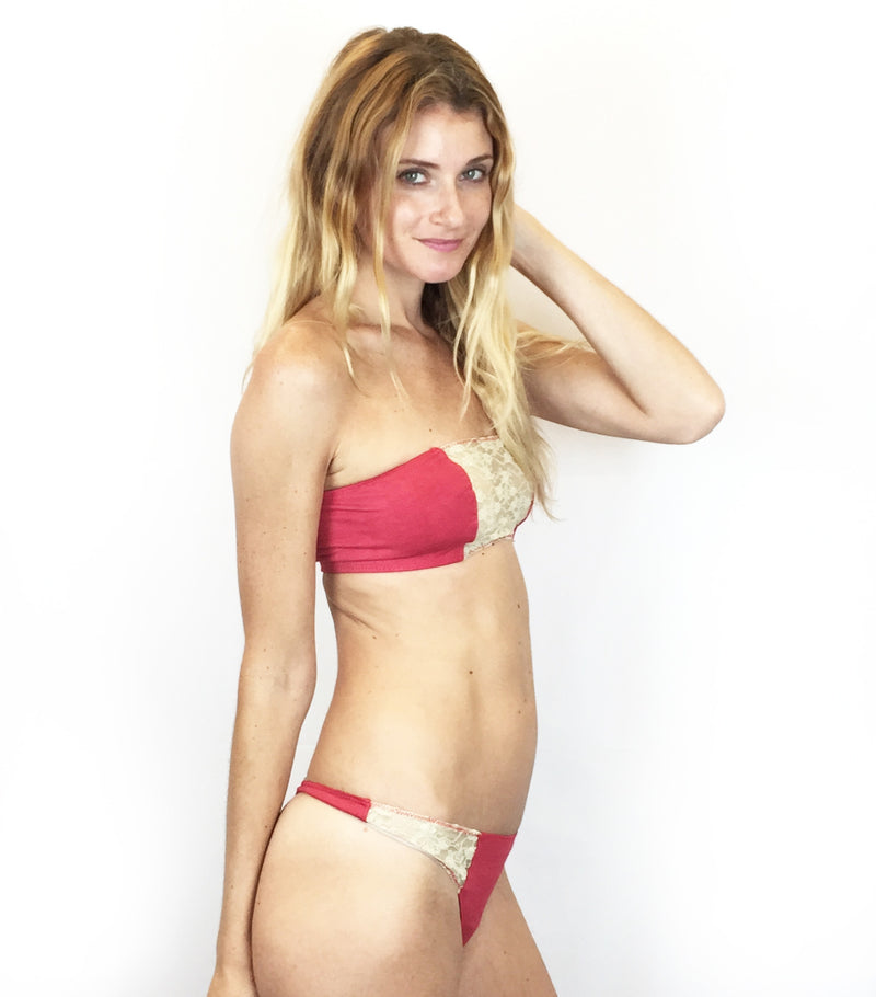 001de1e1bc87d Larkspur - Zelda Organic Cotton Bandeau Bra and Thong Set - Scarlet Ivory
