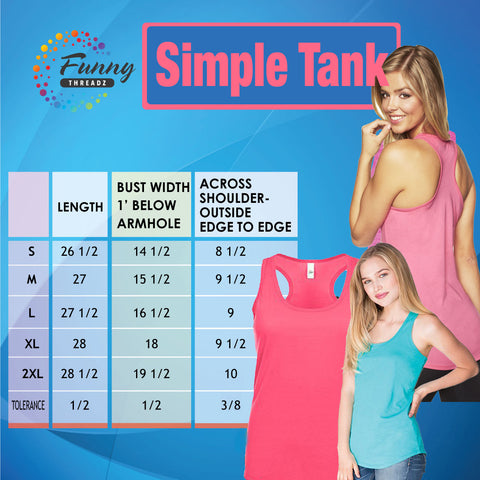 Funny Womens Basic Simple Tank Top - FunnyThreadz.com Size Chart