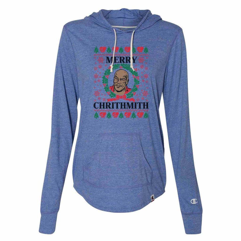 Merry Chrithmith - Womens Champion Brand Hoodie - Hooded Sweatshirt Funny Shirt Small / Blue