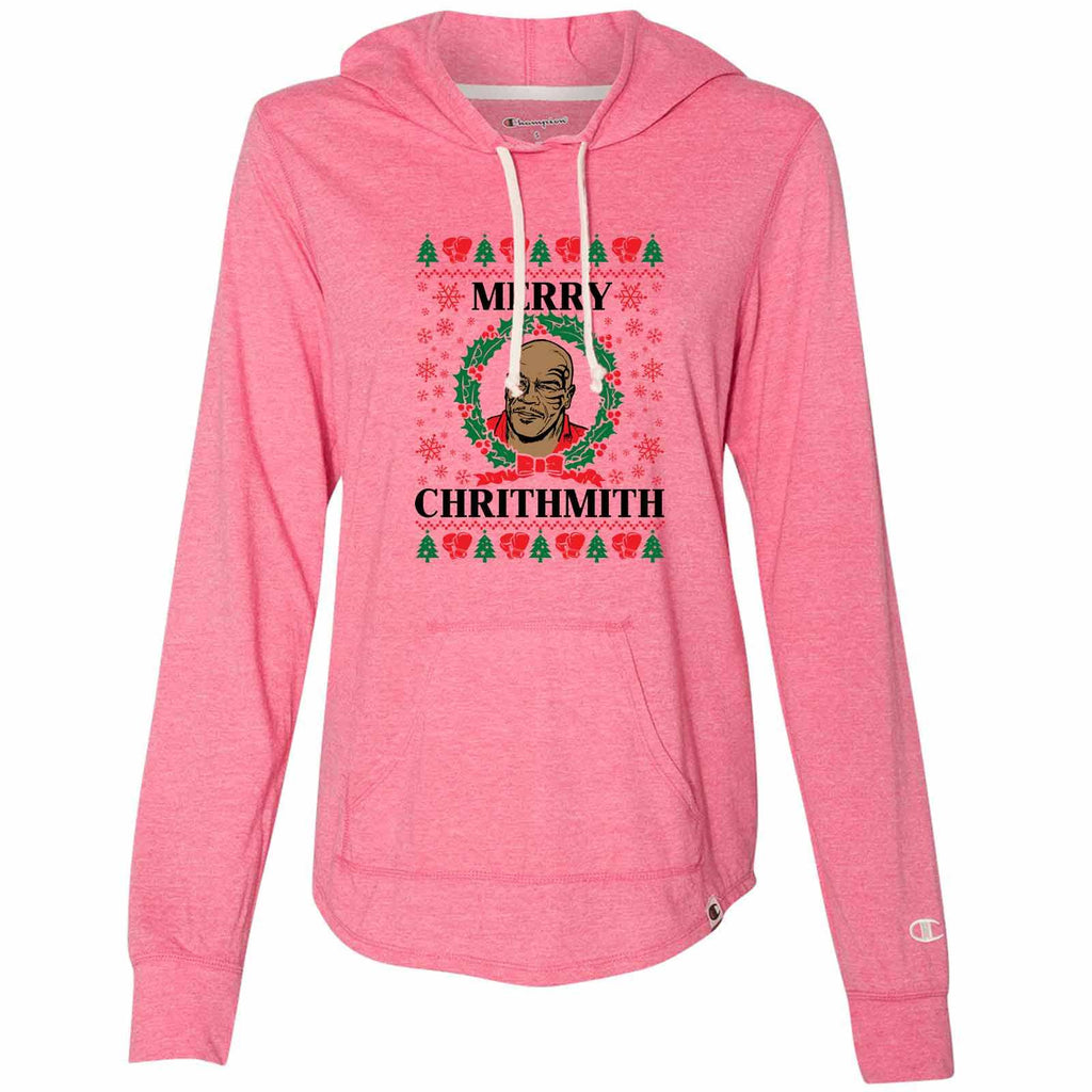 Merry Chrithmith - Womens Champion Brand Hoodie - Hooded Sweatshirt Funny Shirt Small / Pink