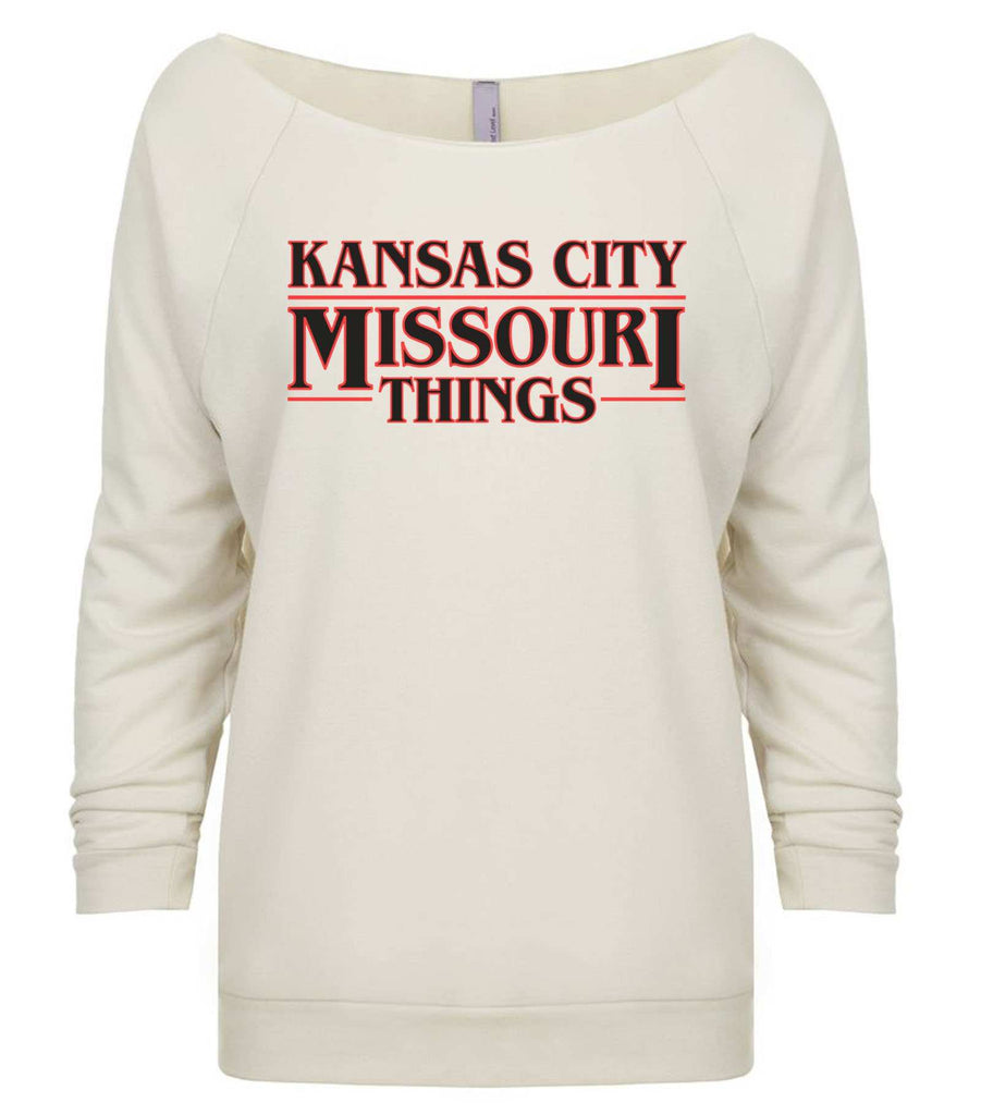 Kansas City, Missouri Things 3/4 Sleeve Raw Edge French Terry Cut - Dolman Style Very Trendy Funny Shirt Small / Beige