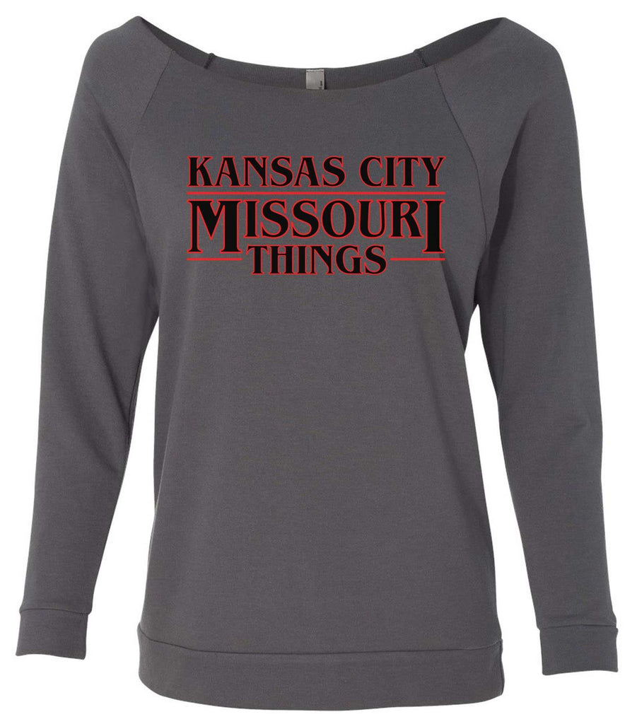 Kansas City, Missouri Things 3/4 Sleeve Raw Edge French Terry Cut - Dolman Style Very Trendy Funny Shirt Small / Charcoal Dark Gray