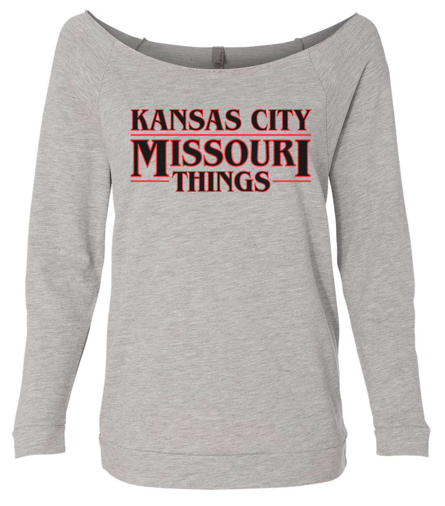 Kansas City, Missouri Things 3/4 Sleeve Raw Edge French Terry Cut - Dolman Style Very Trendy Funny Shirt Small / Grey