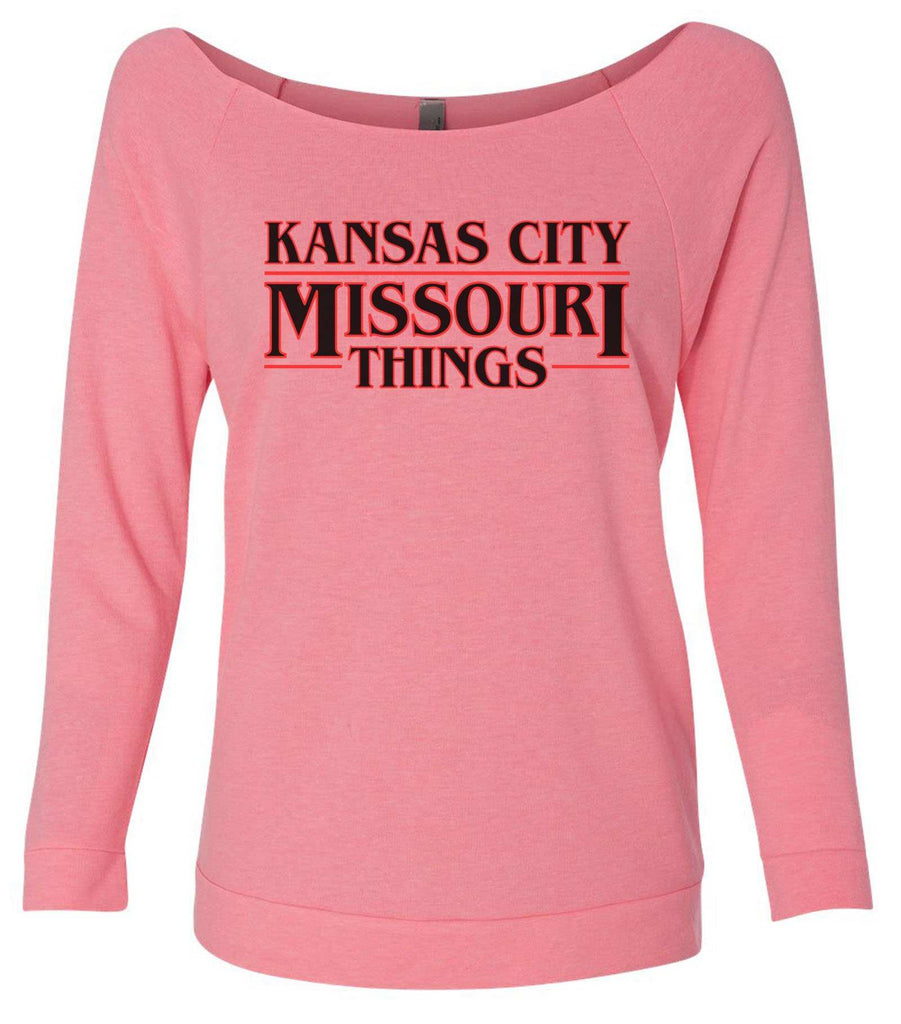 Kansas City, Missouri Things 3/4 Sleeve Raw Edge French Terry Cut - Dolman Style Very Trendy Funny Shirt Small / Pink