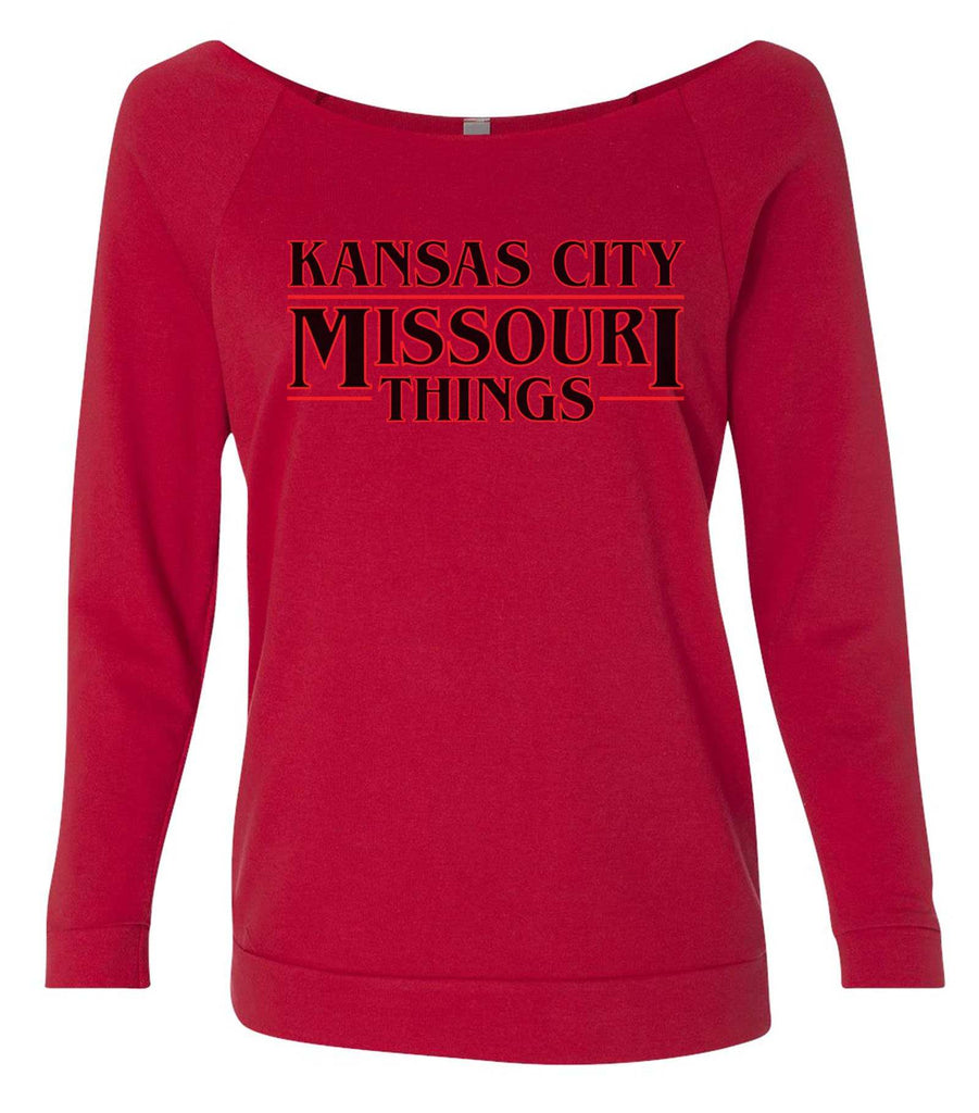 Kansas City, Missouri Things 3/4 Sleeve Raw Edge French Terry Cut - Dolman Style Very Trendy Funny Shirt Small / Red