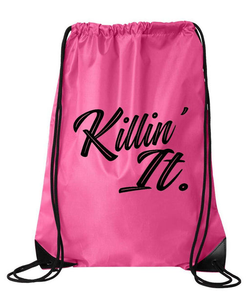 "Drawstring Gym Bag  ""Killin' It""  Funny Workout Squatting Gift Funny Shirt Pink Nylon Bag 14"" x 18"""