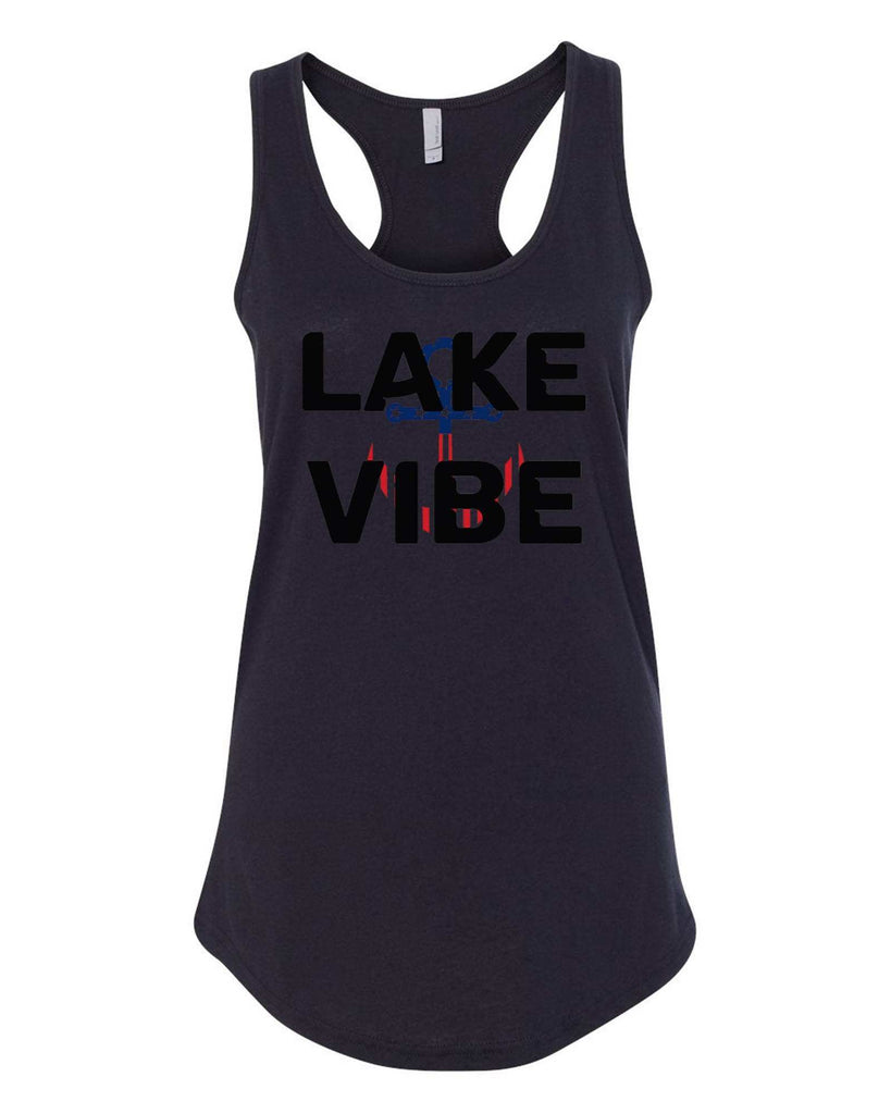 Womens Lake Vibe Grapahic Design Fitted Tank Top Funny Shirt Small / Black
