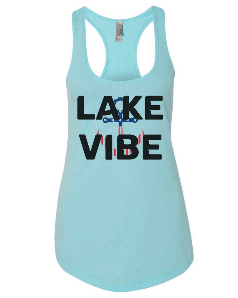 Lake Vibe Womens Workout Tank Top Funny Shirt Small / Cancun Blue
