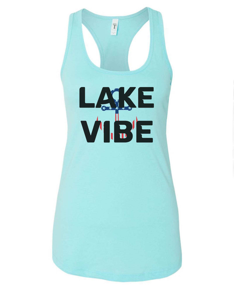 Womens Lake Vibe Grapahic Design Fitted Tank Top Funny Shirt Small / Cancun