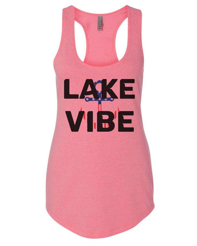 Lake Vibe Womens Workout Tank Top Funny Shirt Small / Heather Pink