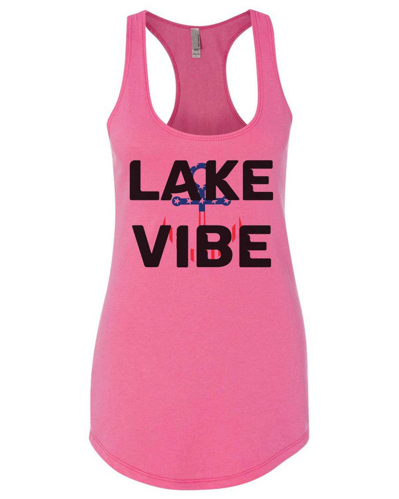 Lake Vibe Womens Workout Tank Top Funny Shirt Small / Hot Pink