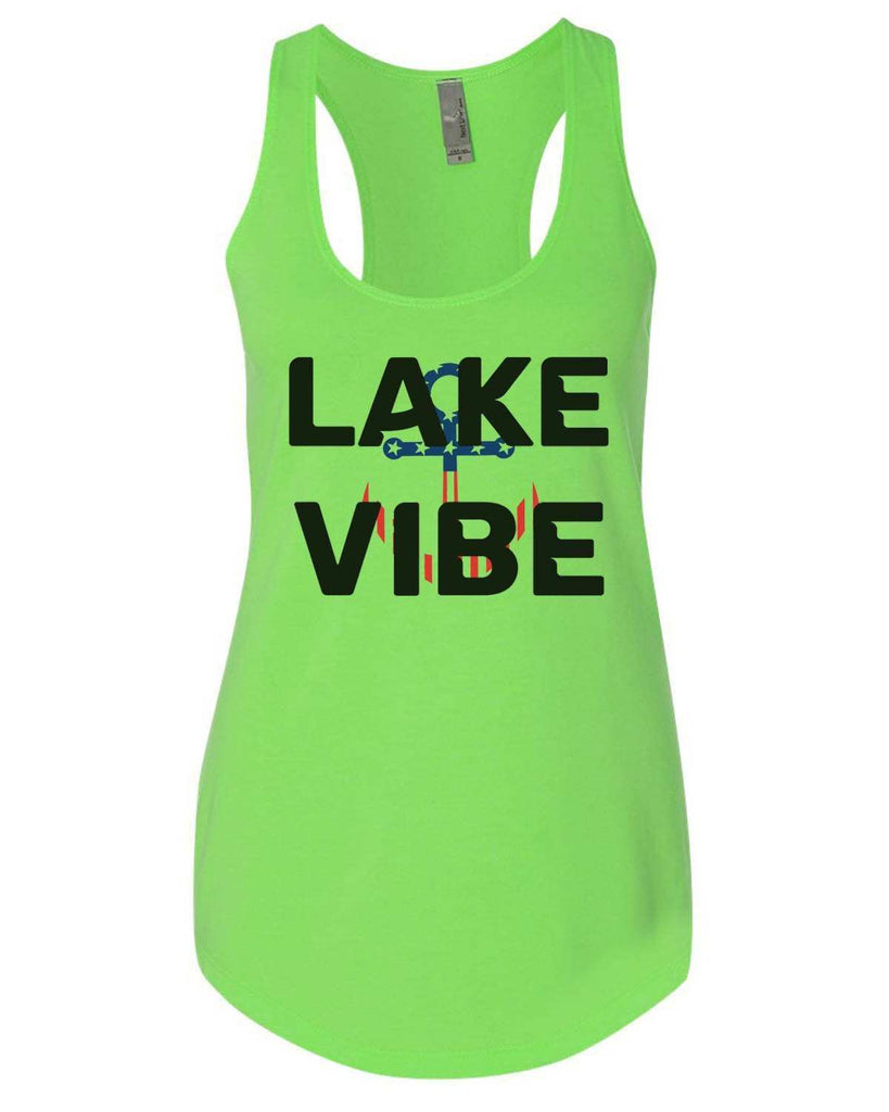 Lake Vibe Womens Workout Tank Top Funny Shirt Small / Neon Green