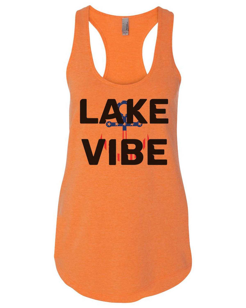 Lake Vibe Womens Workout Tank Top Funny Shirt Small / Neon Orange