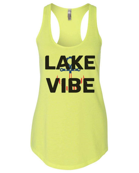 Lake Vibe Womens Workout Tank Top Funny Shirt Small / Neon Yellow