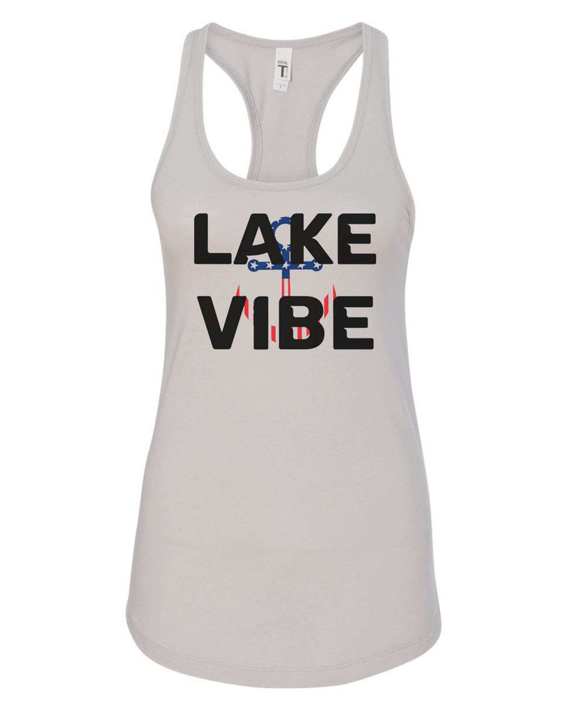 Womens Lake Vibe Grapahic Design Fitted Tank Top Funny Shirt Small / Silver