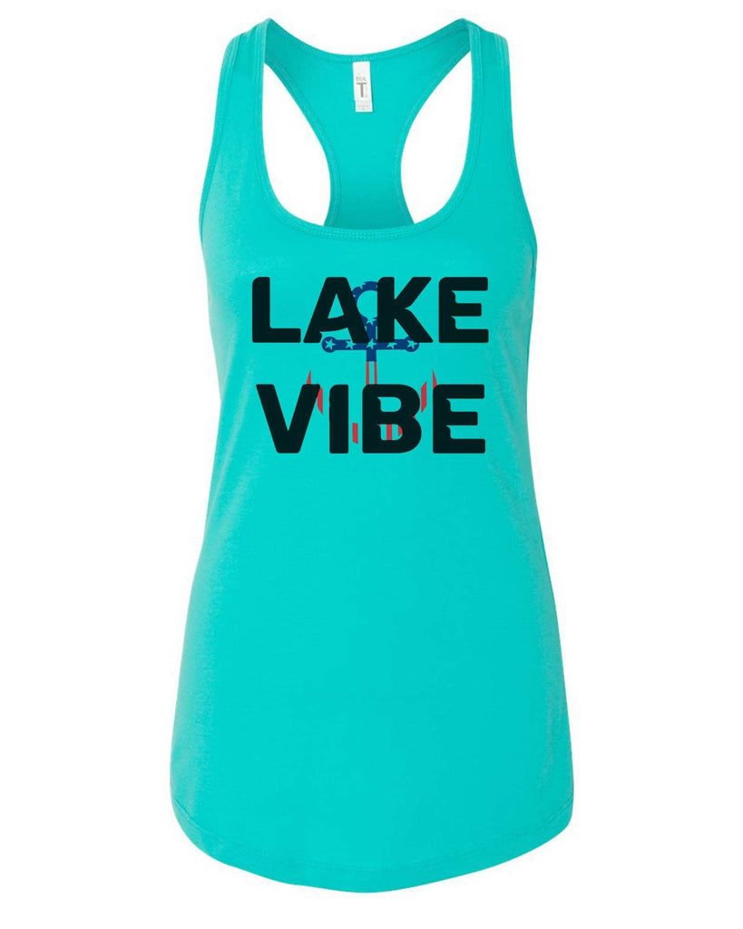 Womens Lake Vibe Grapahic Design Fitted Tank Top Funny Shirt Small / Sky Blue