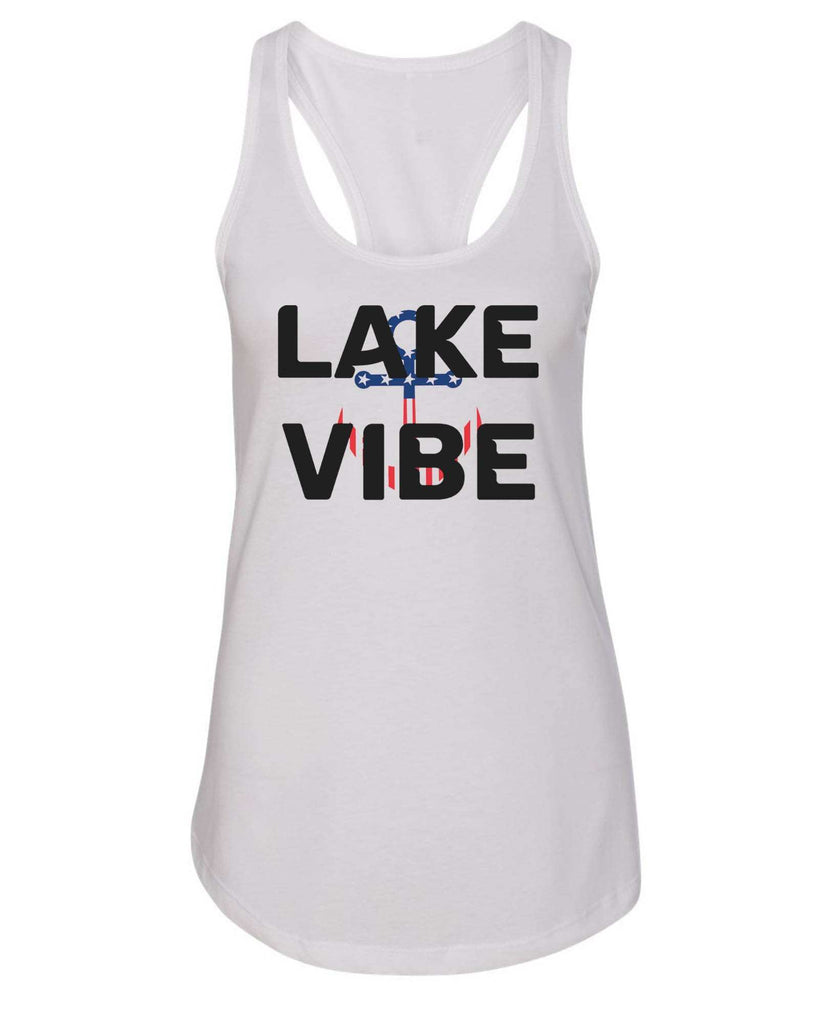 Womens Lake Vibe Grapahic Design Fitted Tank Top Funny Shirt Small / White