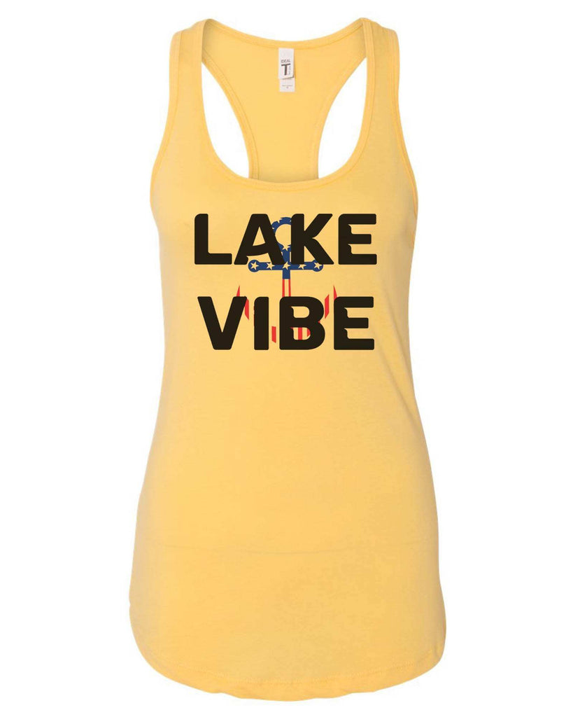Womens Lake Vibe Grapahic Design Fitted Tank Top Funny Shirt Small / Yellow