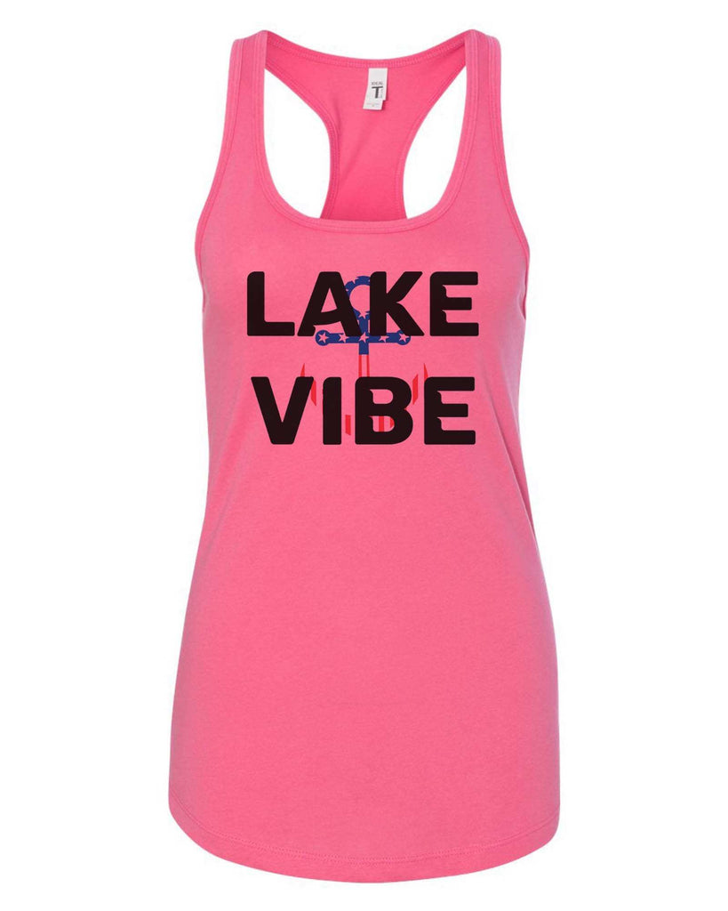 Womens Lake Vibe Grapahic Design Fitted Tank Top Funny Shirt Small / Fuchsia