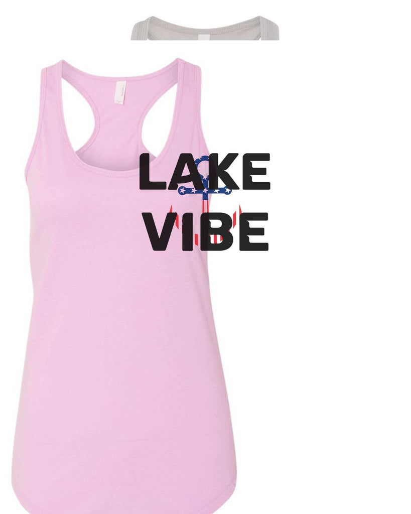 Womens Lake Vibe Grapahic Design Fitted Tank Top Funny Shirt Small / Lilac
