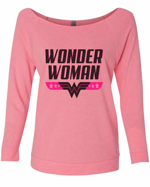 Wonder Woman 3/4 Sleeve Raw Edge French Terry Cut - Dolman Style Very Trendy Funny Shirt Small / Pink